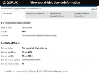 DVLA Driver Licence Check Details